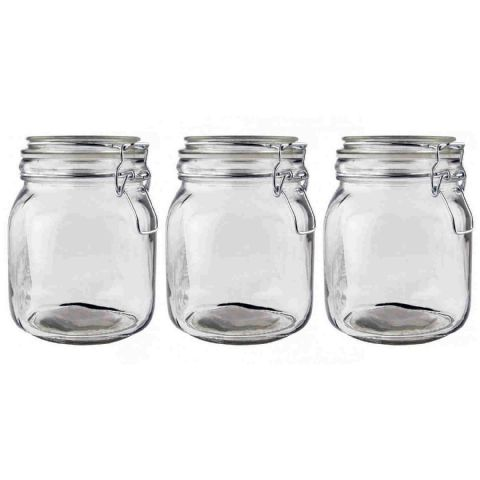 Set Round Glass  Clip Top Tea Coffee Sugar Canisters Jars 1L